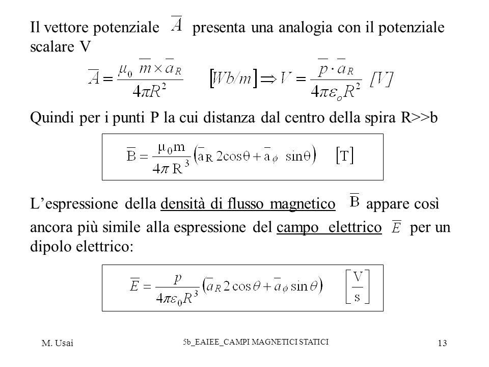 M. Usai 5b_EAIEE_CAMPI MAGNETICI STATICI 13 Il vettore potenziale presenta una analogia con il potenziale scalare V Quindi per i punti P la cui distan