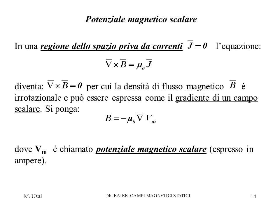 M. Usai 5b_EAIEE_CAMPI MAGNETICI STATICI 14 Potenziale magnetico scalare In una regione dello spazio priva da correnti lequazione: diventa: per cui la