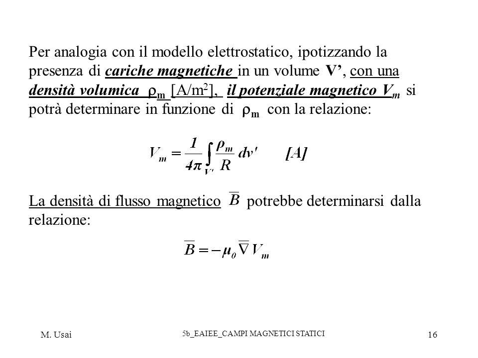 M. Usai 5b_EAIEE_CAMPI MAGNETICI STATICI 16 Per analogia con il modello elettrostatico, ipotizzando la presenza di cariche magnetiche in un volume V,