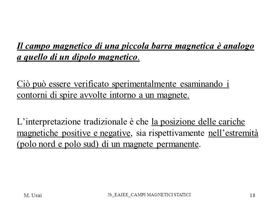 M. Usai 5b_EAIEE_CAMPI MAGNETICI STATICI 18 Il campo magnetico di una piccola barra magnetica è analogo a quello di un dipolo magnetico. Ciò può esser