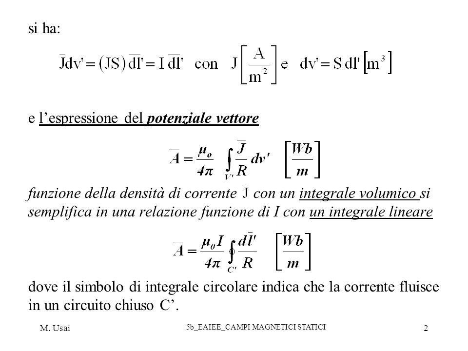 M. Usai 5b_EAIEE_CAMPI MAGNETICI STATICI 2 si ha: e lespressione del potenziale vettore funzione della densità di corrente con un integrale volumico s