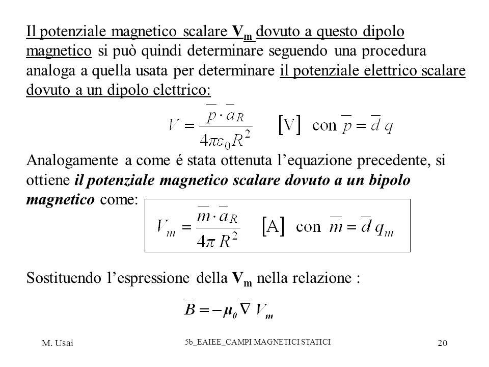 M. Usai 5b_EAIEE_CAMPI MAGNETICI STATICI 20 Il potenziale magnetico scalare V m dovuto a questo dipolo magnetico si può quindi determinare seguendo un