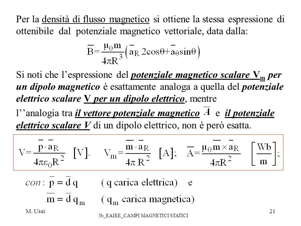 M. Usai 5b_EAIEE_CAMPI MAGNETICI STATICI 21 Per la densità di flusso magnetico si ottiene la stessa espressione di ottenibile dal potenziale magnetico