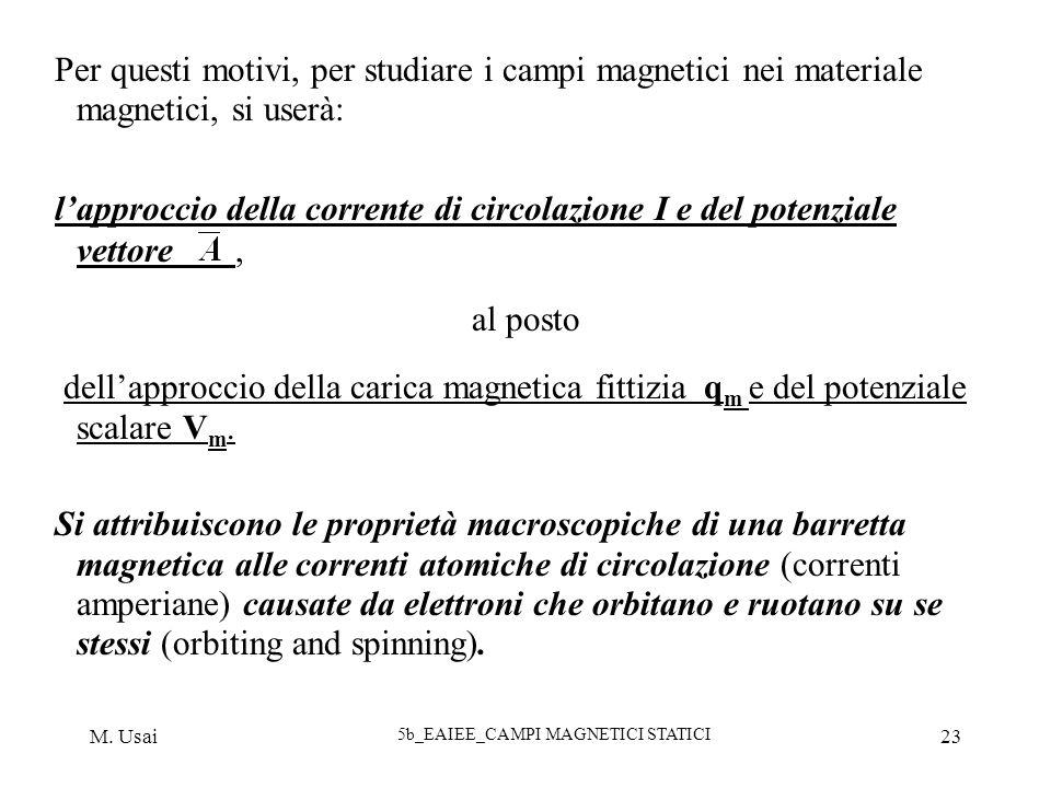 M. Usai 5b_EAIEE_CAMPI MAGNETICI STATICI 23 Per questi motivi, per studiare i campi magnetici nei materiale magnetici, si userà: lapproccio della corr