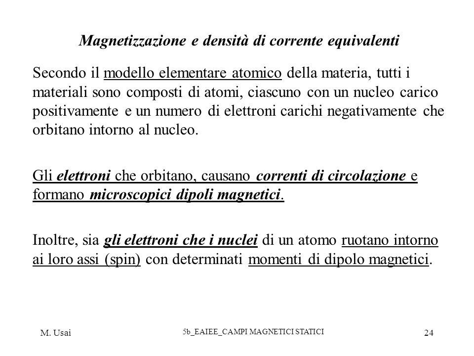 M. Usai 5b_EAIEE_CAMPI MAGNETICI STATICI 24 Magnetizzazione e densità di corrente equivalenti Secondo il modello elementare atomico della materia, tut
