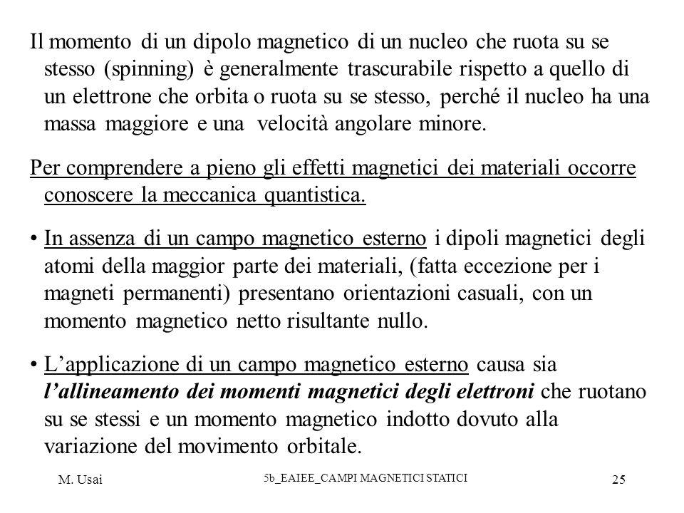 M. Usai 5b_EAIEE_CAMPI MAGNETICI STATICI 25 Il momento di un dipolo magnetico di un nucleo che ruota su se stesso (spinning) è generalmente trascurabi