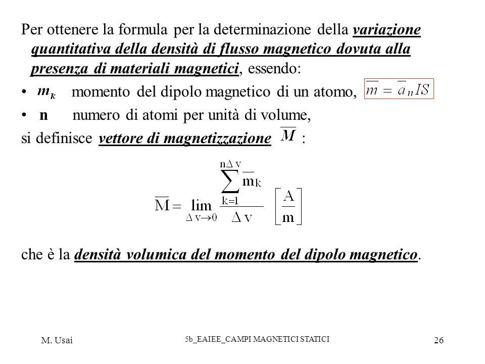 M. Usai 5b_EAIEE_CAMPI MAGNETICI STATICI 26 Per ottenere la formula per la determinazione della variazione quantitativa della densità di flusso magnet