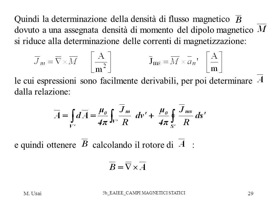 M. Usai 5b_EAIEE_CAMPI MAGNETICI STATICI 29 Quindi la determinazione della densità di flusso magnetico dovuto a una assegnata densità di momento del d