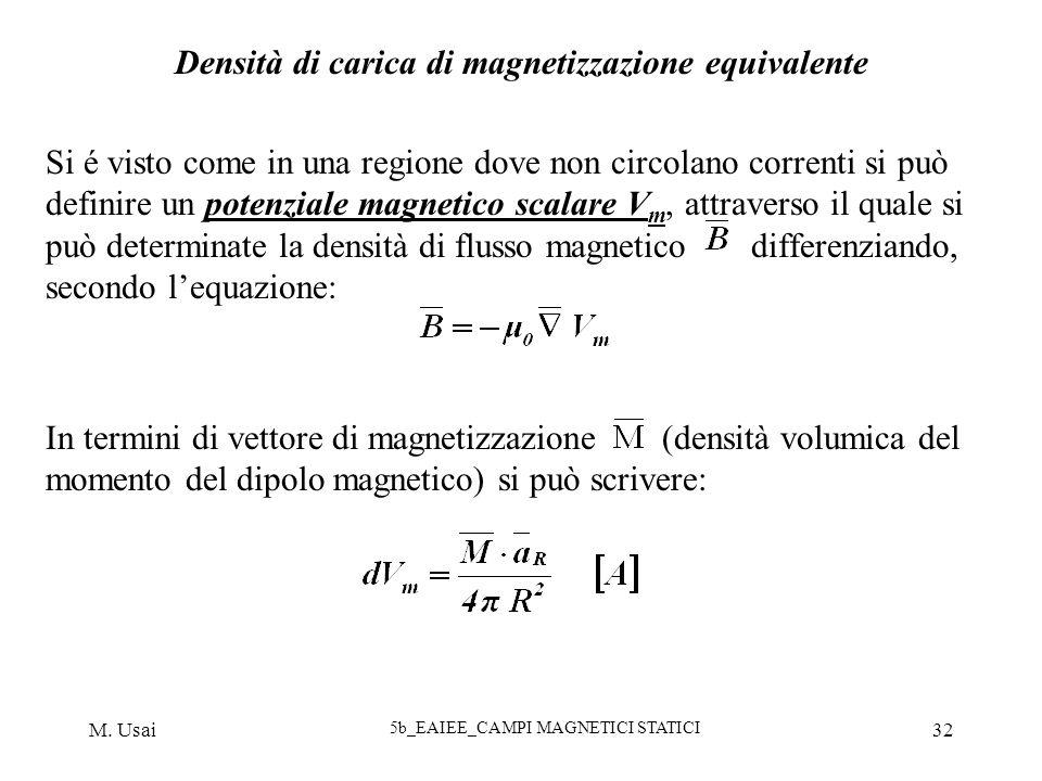 M. Usai 5b_EAIEE_CAMPI MAGNETICI STATICI 32 Densità di carica di magnetizzazione equivalente Si é visto come in una regione dove non circolano corrent