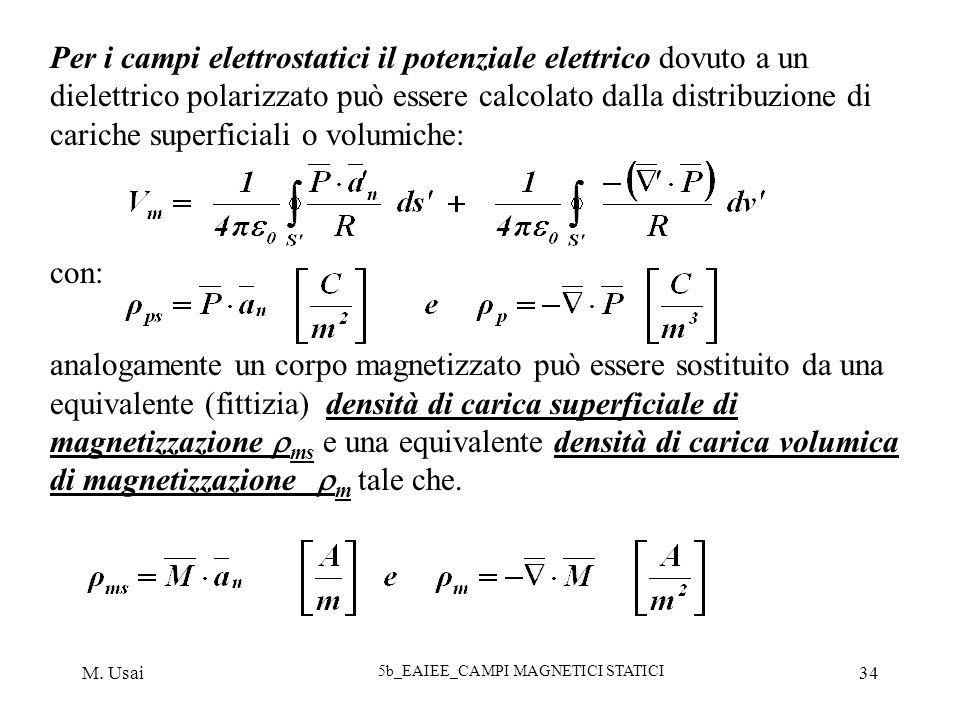 M. Usai 5b_EAIEE_CAMPI MAGNETICI STATICI 34 Per i campi elettrostatici il potenziale elettrico dovuto a un dielettrico polarizzato può essere calcolat
