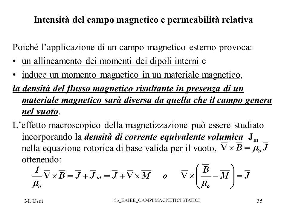 M. Usai 5b_EAIEE_CAMPI MAGNETICI STATICI 35 Intensità del campo magnetico e permeabilità relativa Poiché lapplicazione di un campo magnetico esterno p