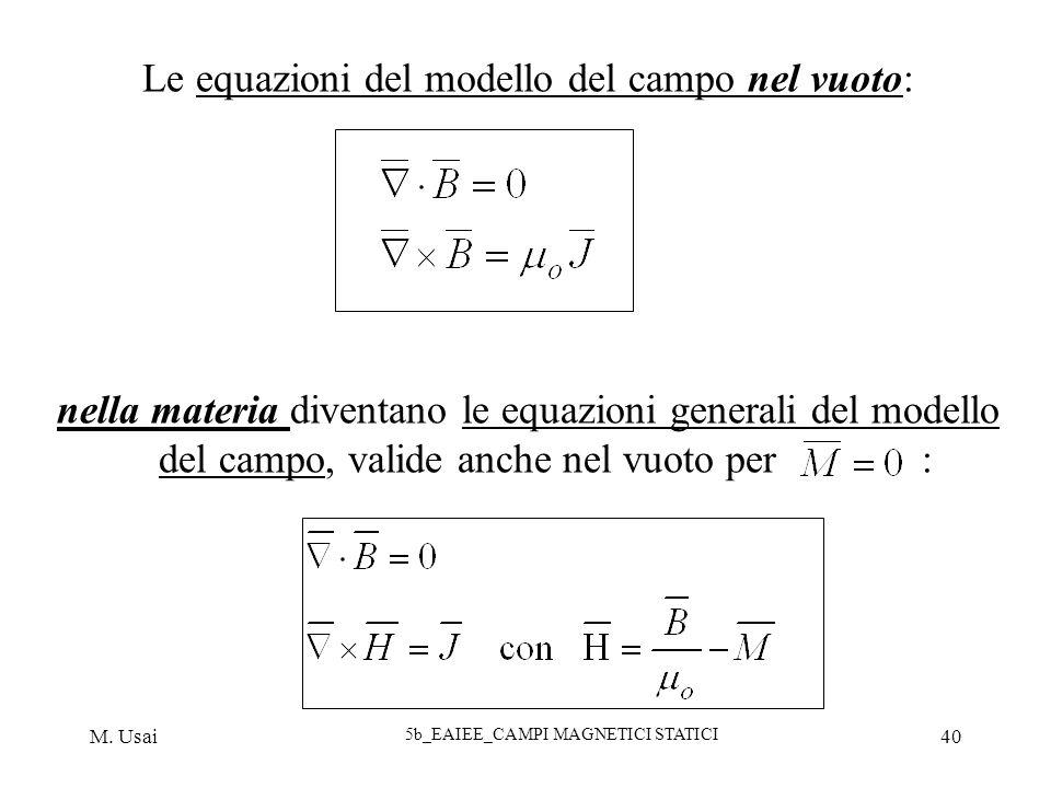 M. Usai 5b_EAIEE_CAMPI MAGNETICI STATICI 40 Le equazioni del modello del campo nel vuoto: nella materia diventano le equazioni generali del modello de