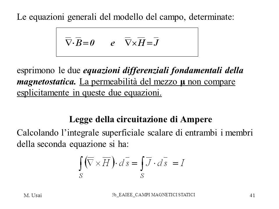 M. Usai 5b_EAIEE_CAMPI MAGNETICI STATICI 41 Le equazioni generali del modello del campo, determinate: esprimono le due equazioni differenziali fondame