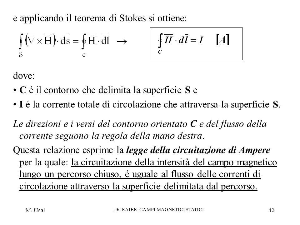 M. Usai 5b_EAIEE_CAMPI MAGNETICI STATICI 42 e applicando il teorema di Stokes si ottiene: dove: C é il contorno che delimita la superficie S e I é la