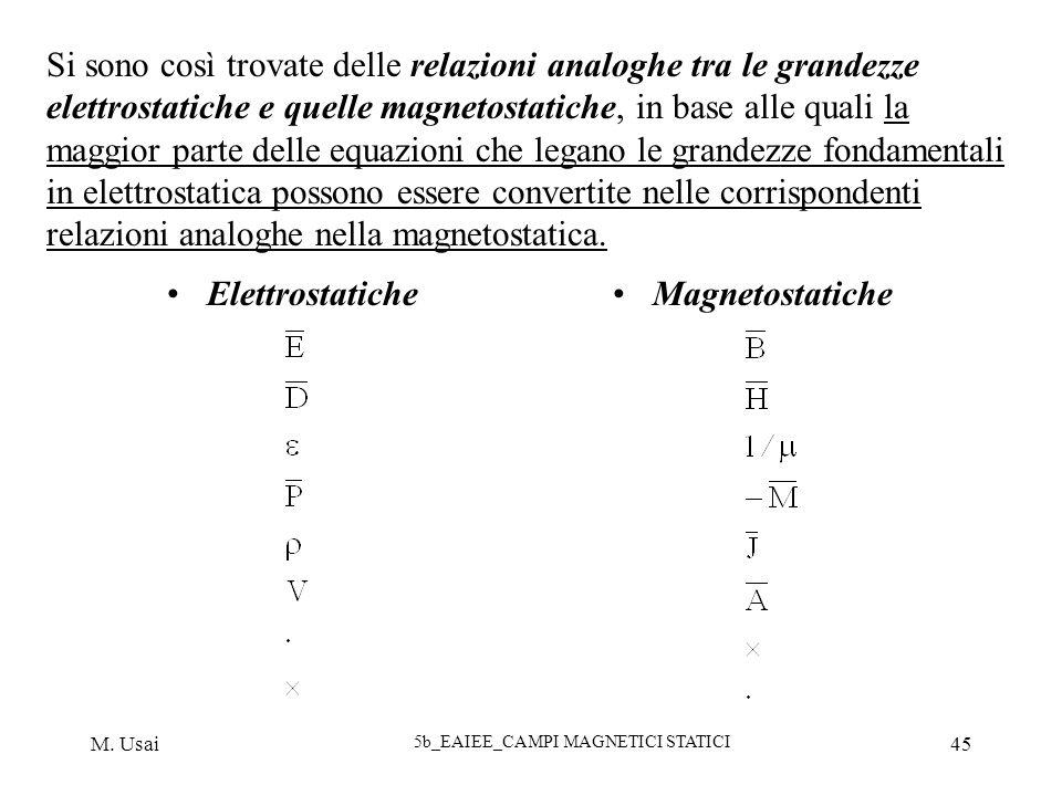 M. Usai 5b_EAIEE_CAMPI MAGNETICI STATICI 45 Si sono così trovate delle relazioni analoghe tra le grandezze elettrostatiche e quelle magnetostatiche, i