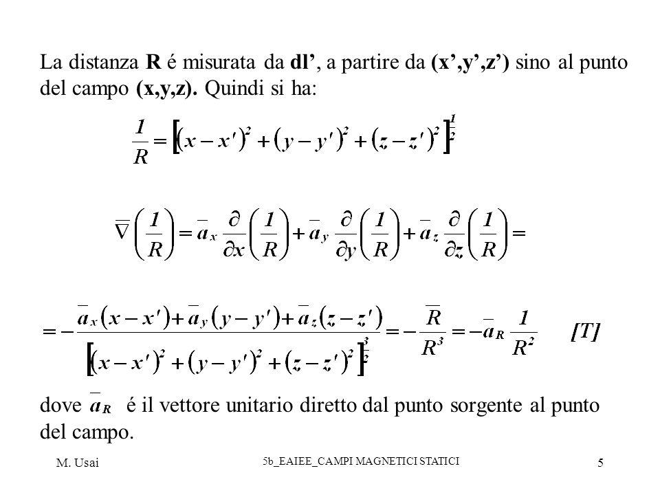 M. Usai 5b_EAIEE_CAMPI MAGNETICI STATICI 5 La distanza R é misurata da dl, a partire da (x,y,z) sino al punto del campo (x,y,z). Quindi si ha: dove é