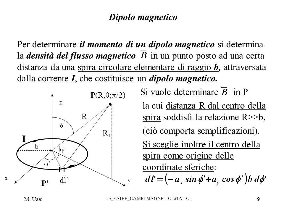 M. Usai 5b_EAIEE_CAMPI MAGNETICI STATICI 9 Dipolo magnetico Per determinare il momento di un dipolo magnetico si determina la densità del flusso magne
