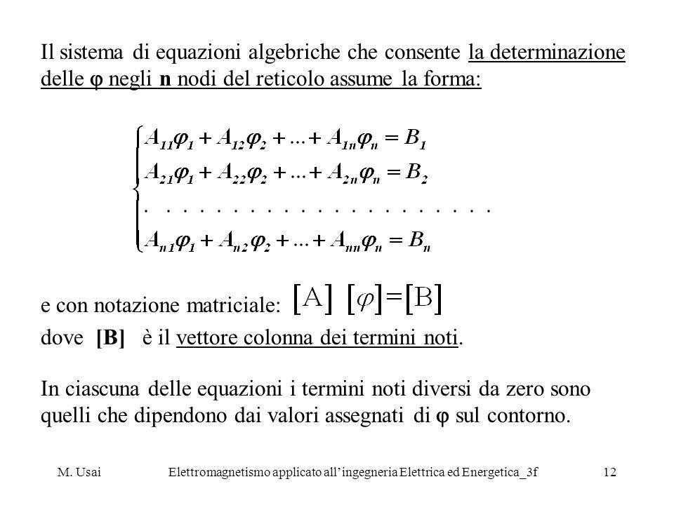 M. UsaiElettromagnetismo applicato allingegneria Elettrica ed Energetica_3f12 Il sistema di equazioni algebriche che consente la determinazione delle