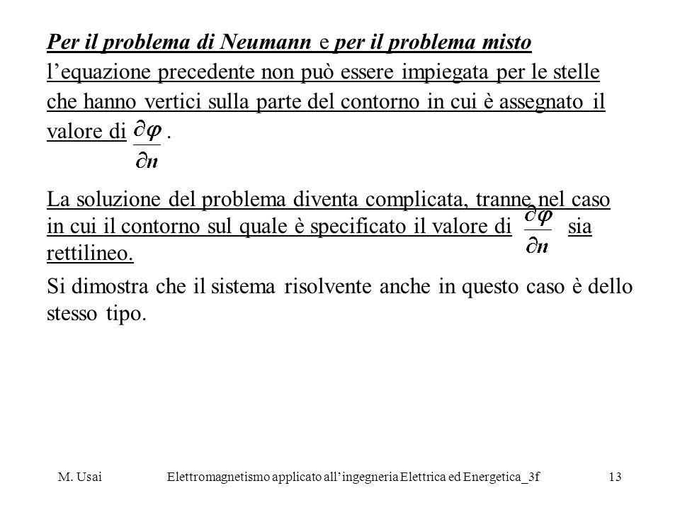 M. UsaiElettromagnetismo applicato allingegneria Elettrica ed Energetica_3f13 Per il problema di Neumann e per il problema misto lequazione precedente