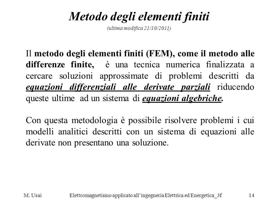 M. UsaiElettromagnetismo applicato allingegneria Elettrica ed Energetica_3f14 Metodo degli elementi finiti (ultima modifica 21/10/2011) Il metodo degl