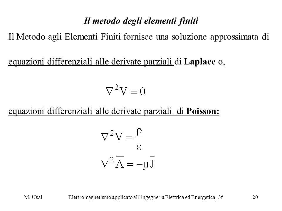 M. UsaiElettromagnetismo applicato allingegneria Elettrica ed Energetica_3f20 Il metodo degli elementi finiti Il Metodo agli Elementi Finiti fornisce