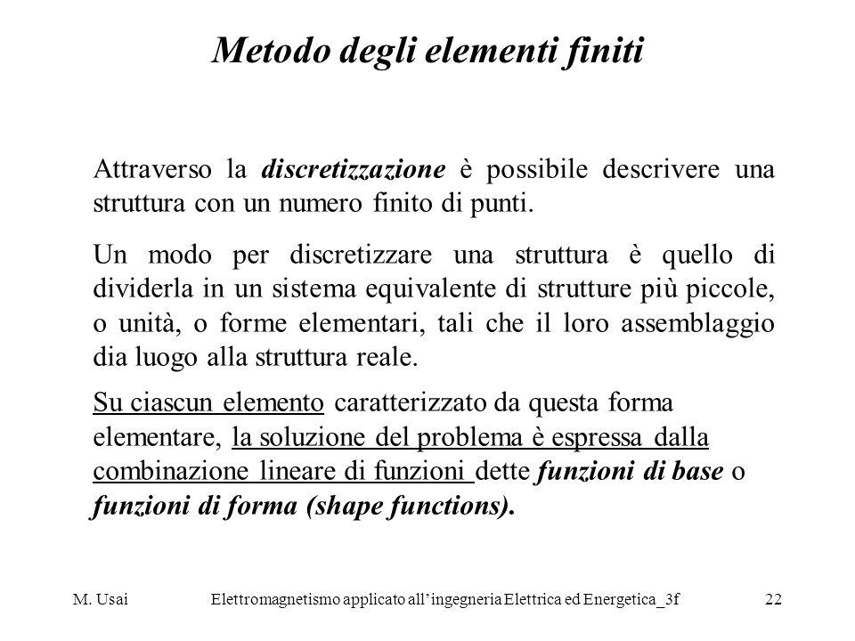 M. UsaiElettromagnetismo applicato allingegneria Elettrica ed Energetica_3f22 Metodo degli elementi finiti Attraverso la discretizzazione è possibile