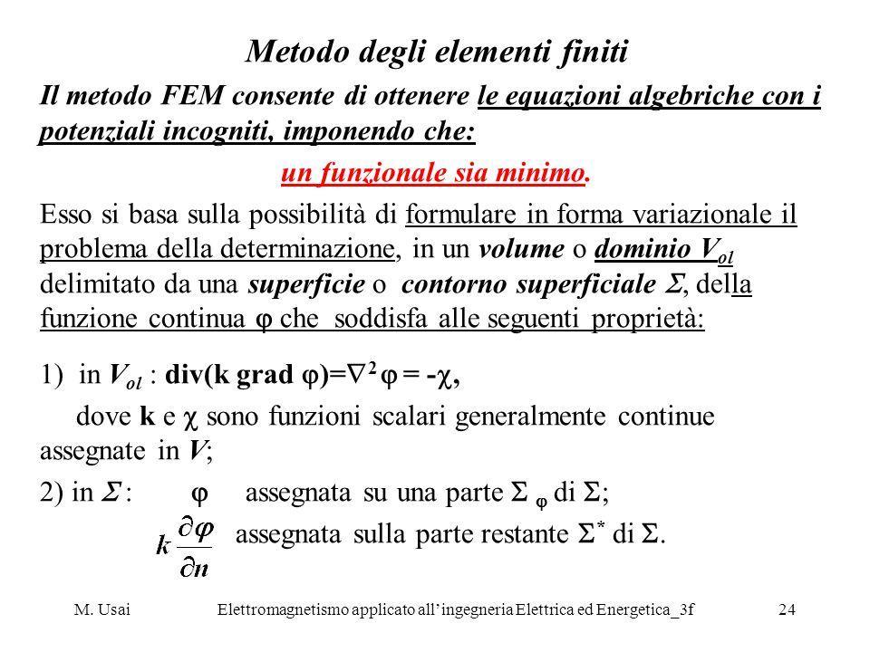 M. UsaiElettromagnetismo applicato allingegneria Elettrica ed Energetica_3f24 Metodo degli elementi finiti Il metodo FEM consente di ottenere le equaz