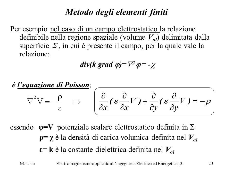 M. UsaiElettromagnetismo applicato allingegneria Elettrica ed Energetica_3f25 Metodo degli elementi finiti Per esempio nel caso di un campo elettrosta