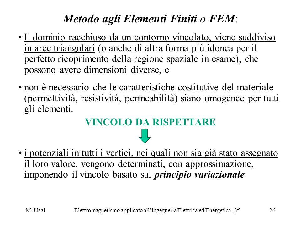M. UsaiElettromagnetismo applicato allingegneria Elettrica ed Energetica_3f26 Metodo agli Elementi Finiti o FEM: Il dominio racchiuso da un contorno v