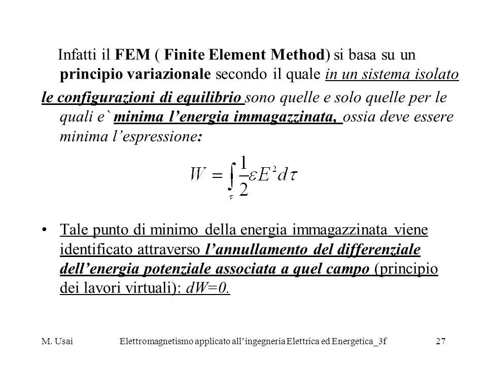 M. UsaiElettromagnetismo applicato allingegneria Elettrica ed Energetica_3f27 Infatti il FEM ( Finite Element Method) si basa su un principio variazio