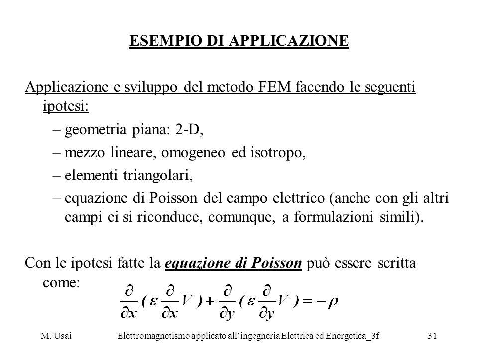 M. UsaiElettromagnetismo applicato allingegneria Elettrica ed Energetica_3f31 ESEMPIO DI APPLICAZIONE Applicazione e sviluppo del metodo FEM facendo l