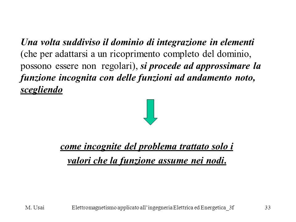 M. UsaiElettromagnetismo applicato allingegneria Elettrica ed Energetica_3f33 Una volta suddiviso il dominio di integrazione in elementi (che per adat