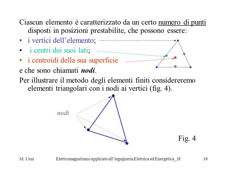 M. UsaiElettromagnetismo applicato allingegneria Elettrica ed Energetica_3f38 Ciascun elemento è caratterizzato da un certo numero di punti disposti i