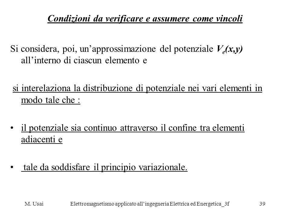 M. UsaiElettromagnetismo applicato allingegneria Elettrica ed Energetica_3f39 Condizioni da verificare e assumere come vincoli Si considera, poi, unap