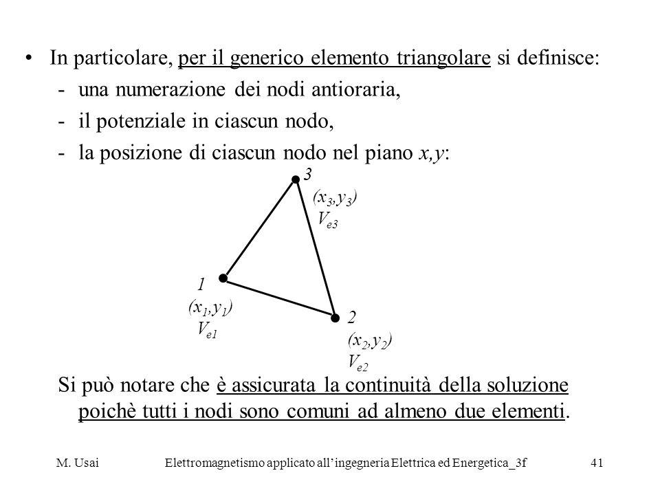 M. UsaiElettromagnetismo applicato allingegneria Elettrica ed Energetica_3f41 In particolare, per il generico elemento triangolare si definisce: -una