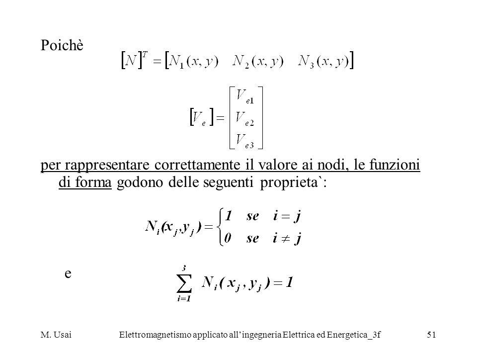 M. UsaiElettromagnetismo applicato allingegneria Elettrica ed Energetica_3f51 Poichè per rappresentare correttamente il valore ai nodi, le funzioni di