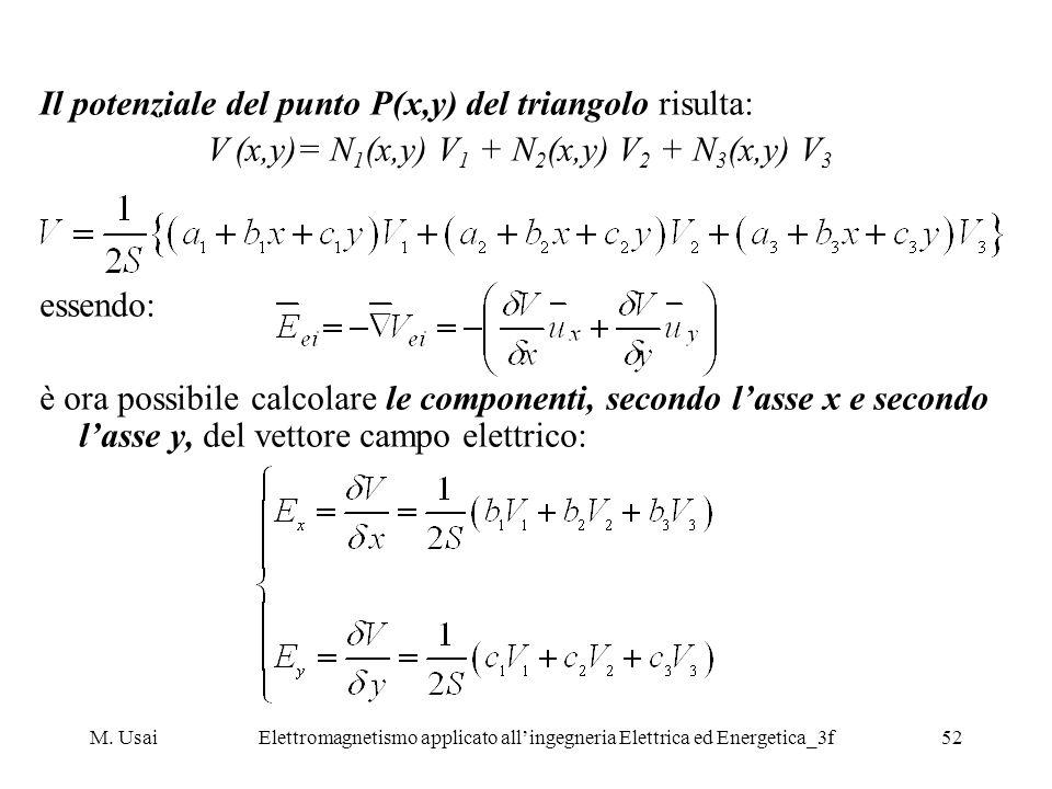 M. UsaiElettromagnetismo applicato allingegneria Elettrica ed Energetica_3f52 Il potenziale del punto P(x,y) del triangolo risulta: V (x,y)= N 1 (x,y)