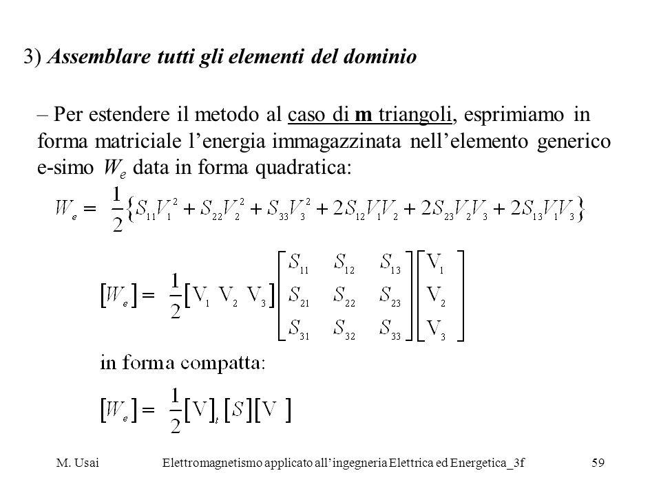 M. UsaiElettromagnetismo applicato allingegneria Elettrica ed Energetica_3f59 3) Assemblare tutti gli elementi del dominio – Per estendere il metodo a
