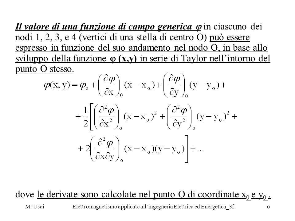 M. UsaiElettromagnetismo applicato allingegneria Elettrica ed Energetica_3f6 Il valore di una funzione di campo generica in ciascuno dei nodi 1, 2, 3,
