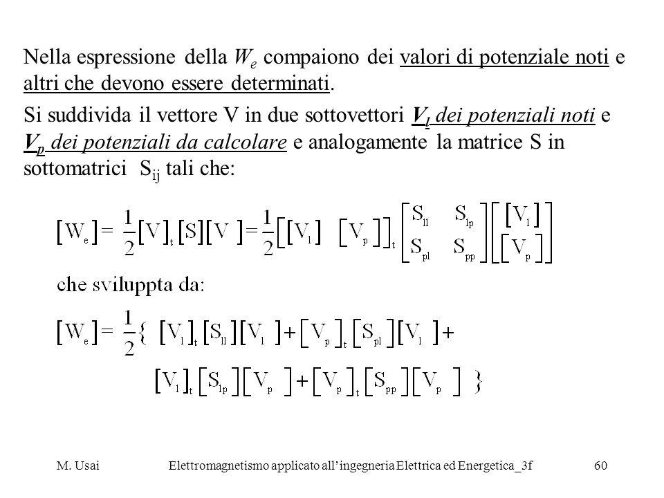M. UsaiElettromagnetismo applicato allingegneria Elettrica ed Energetica_3f60 Nella espressione della W e compaiono dei valori di potenziale noti e al