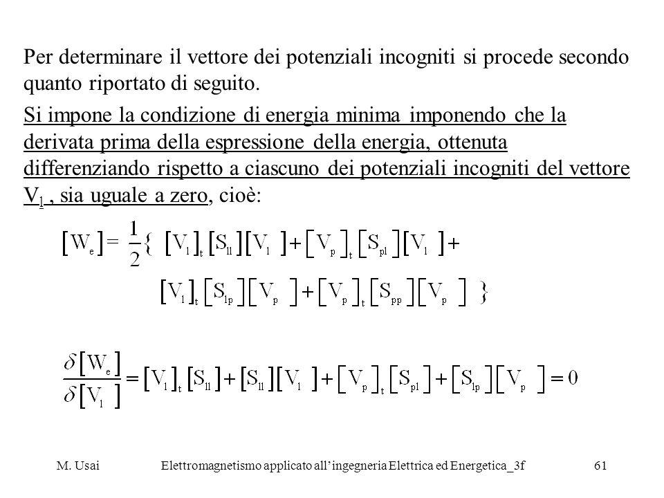M. UsaiElettromagnetismo applicato allingegneria Elettrica ed Energetica_3f61 Per determinare il vettore dei potenziali incogniti si procede secondo q