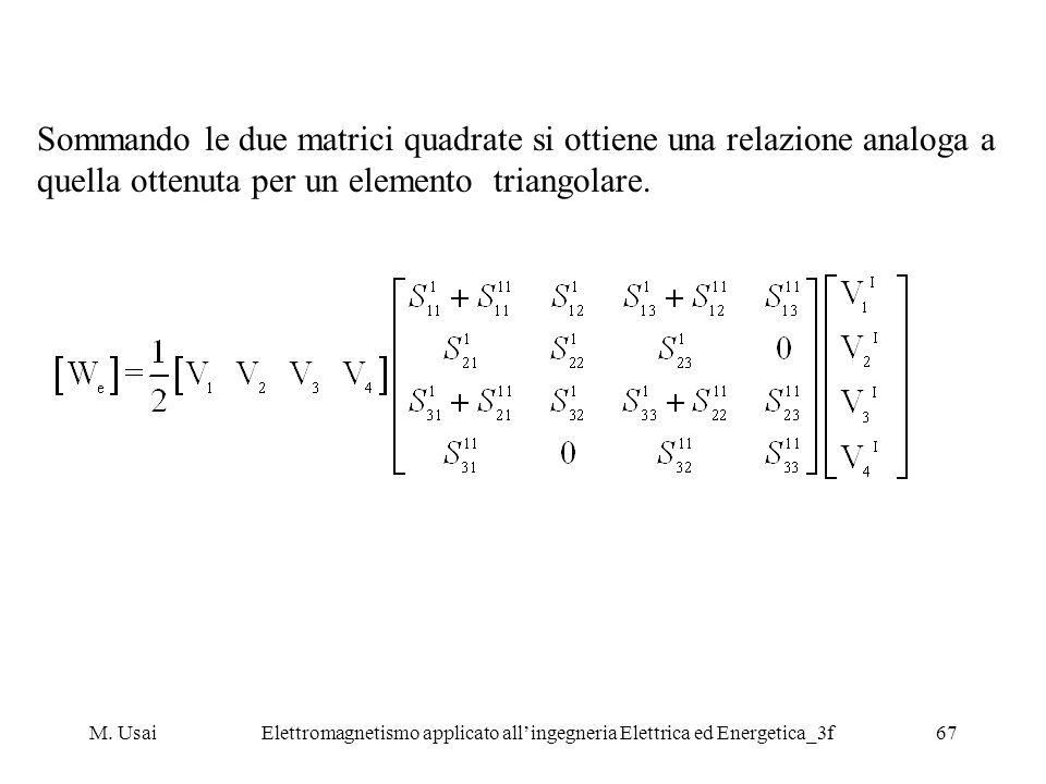 M. UsaiElettromagnetismo applicato allingegneria Elettrica ed Energetica_3f67 Sommando le due matrici quadrate si ottiene una relazione analoga a quel