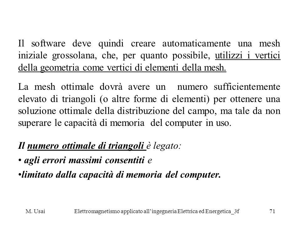 M. UsaiElettromagnetismo applicato allingegneria Elettrica ed Energetica_3f71 Il software deve quindi creare automaticamente una mesh iniziale grossol