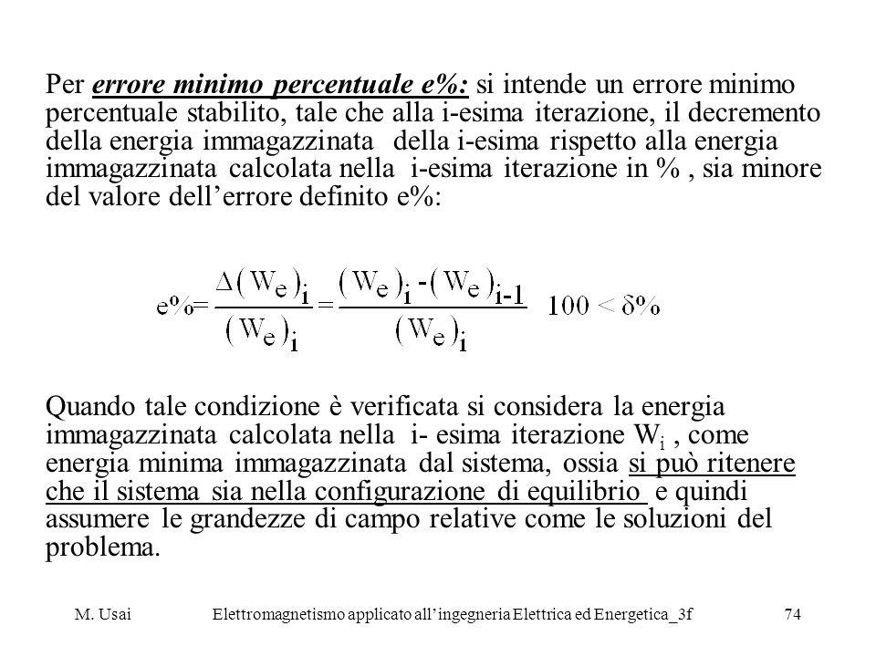 M. UsaiElettromagnetismo applicato allingegneria Elettrica ed Energetica_3f74 Per errore minimo percentuale e%: si intende un errore minimo percentual