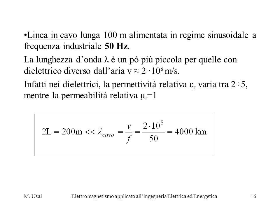 M. UsaiElettromagnetismo applicato allingegneria Elettrica ed Energetica16 Linea in cavo lunga 100 m alimentata in regime sinusoidale a frequenza indu