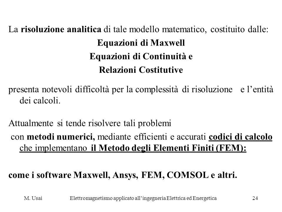 M. UsaiElettromagnetismo applicato allingegneria Elettrica ed Energetica24 La risoluzione analitica di tale modello matematico, costituito dalle: Equa