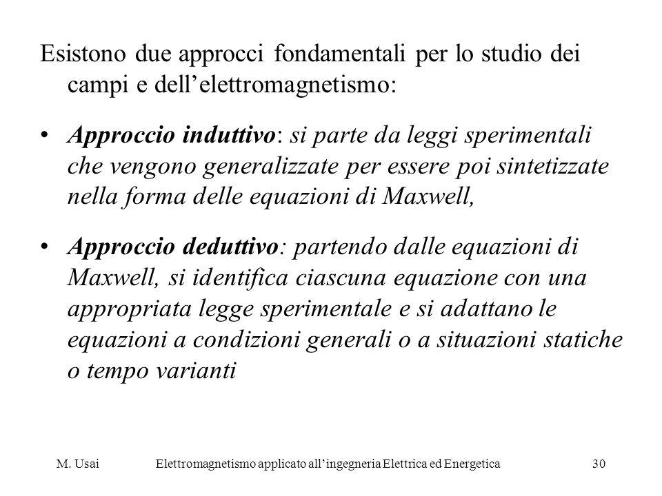 M. UsaiElettromagnetismo applicato allingegneria Elettrica ed Energetica30 Esistono due approcci fondamentali per lo studio dei campi e dellelettromag