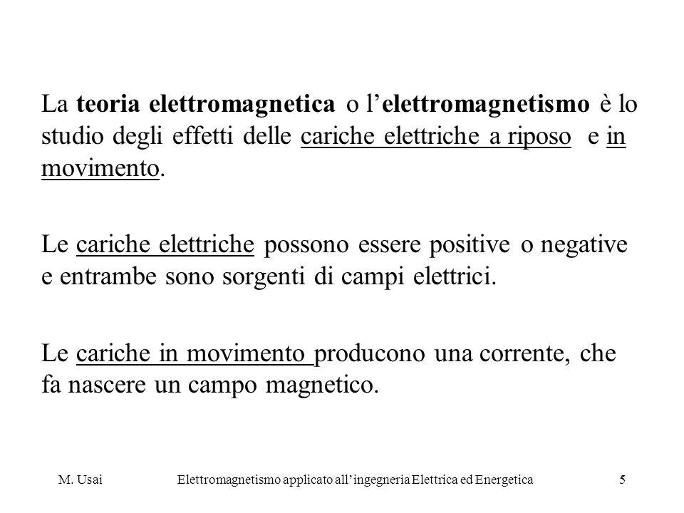 M. UsaiElettromagnetismo applicato allingegneria Elettrica ed Energetica5 La teoria elettromagnetica o lelettromagnetismo è lo studio degli effetti de