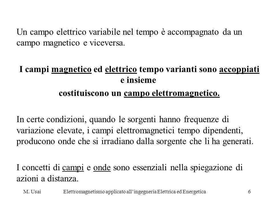M. UsaiElettromagnetismo applicato allingegneria Elettrica ed Energetica6 Un campo elettrico variabile nel tempo è accompagnato da un campo magnetico