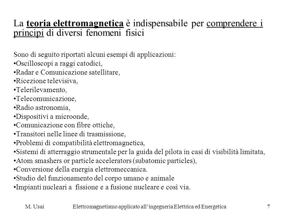 M. UsaiElettromagnetismo applicato allingegneria Elettrica ed Energetica7 La teoria elettromagnetica è indispensabile per comprendere i principi di di